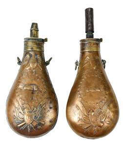 Pair Civil War Era Ames Powder Flasks