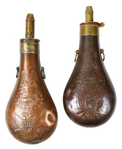 Two Civil War Era Batty Powder Flasks