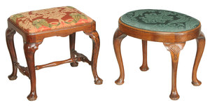 Two Queen Anne Walnut Footstools