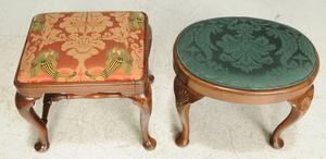 Two Queen Anne Walnut Footstools