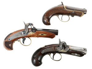 Three Deringer Percussion Pistols, One New