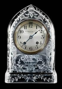 Sinclaire Cut Glass Mantle or Desk Clock
