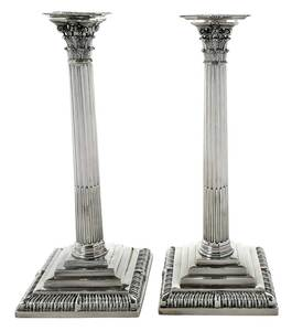 Pair George III English Silver Candlesticks