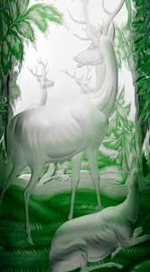 Bohemian Green Overlay Deer Vase