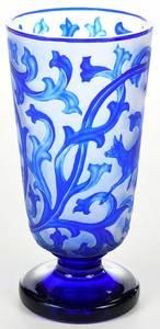 Bohemian Cobalt Overlay Deer Vase