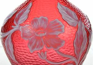 Cranberry Vase with Cameo Floral Decoration