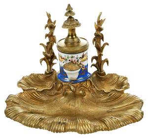 Louis Philippe Gilt Bronze and Porcelain Inkwell