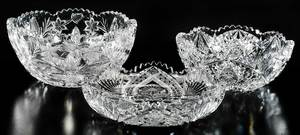 Three Cut Glass Bowls by Libbey and J. Hoare