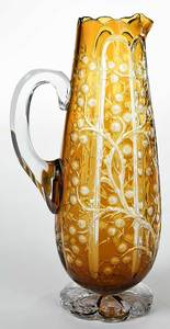 Stevens and Williams Intaglio Cut Claret Pitcher