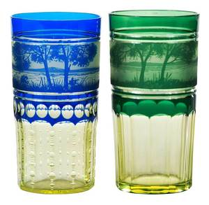 Two Val St. Lambert Cameo Landscape Tumblers
