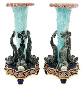 Pair Majolica Dolphin Spill Vases