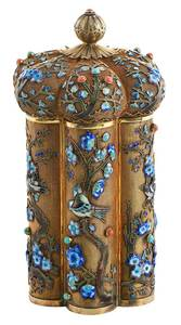 Gilt Silver Filigree and Enamel Tea Caddy