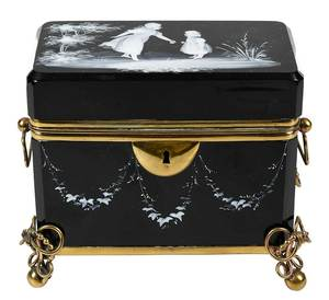 Mary Gregory Style Black Glass Casket Box