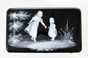Mary Gregory Style Black Glass Casket Box