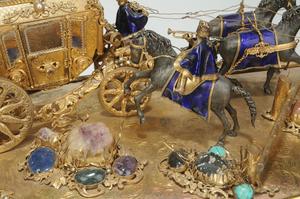 Gilt Silver Enamel Gemstone Carriage Group