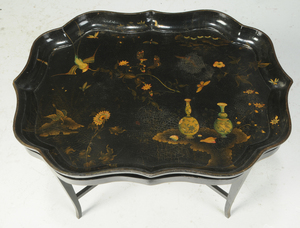 Chinoiserie Decorated Papier-Mâché Tray on Stand