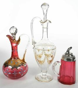 Three Decorated Glass Table Items
