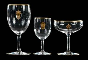 Three Fine Crystal Stems with Gilt Monograms