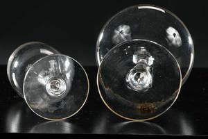 Three Fine Crystal Stems with Gilt Monograms