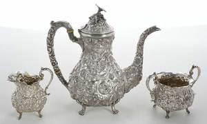 Three Piece Kirk Repousse Tea Service