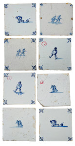Eight Dutch Delft Skating Tiles
