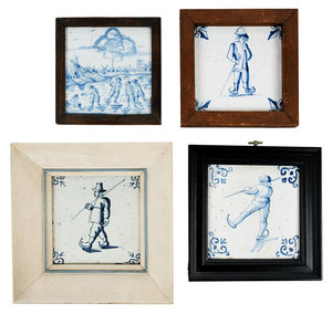 Four Framed Dutch Delft Skating Tiles