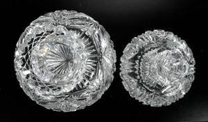 Two Cut Glass Flower Centers