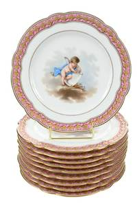 Set of Ten Le Rosey Hand Painted Cabinet Plates
