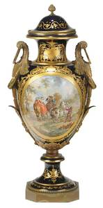 Monumental  Sèvres Hand Painted  Signed Urn