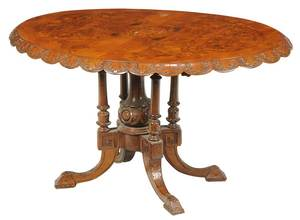 Victorian Inlaid Burl Walnut Breakfast Table