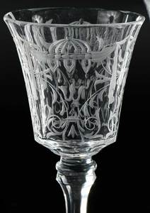 Seven Engraved Glass Wines and Cordials
