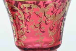 22 Bohemian Gilt Cranberry Wine Goblets