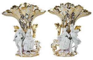 Pair Old Paris Vases with Bisque Figures