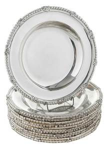 Set of Twelve Tiffany Sterling Soup Bowls