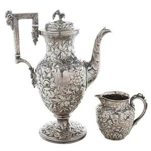 Kirk Repousse Coin Silver Coffee, Creamer