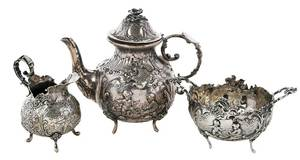 Three Piece German Silver Tea Service