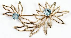 14kt. Gold Aquamarine Brooch