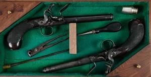 Pair Queen Anne Pistols in Cased Set