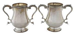 Pair Coin Silver Two Handle Cups