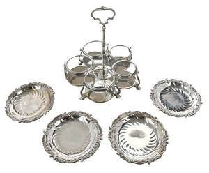 English Silver Cruet Frame/Epergne Plates