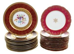 24 Burgundy and Gilt Service Plates