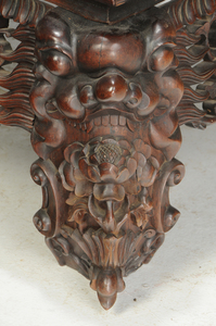 Chinese Carved Hardwood Marble Inset Low Table