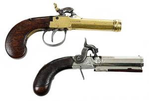 Two Similar British Percussion Pocket Pistols