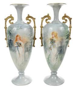 Pair Lenox Belleek Hand Painted Urns