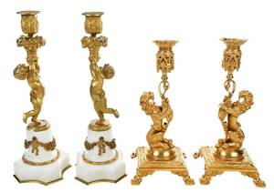 Two Pairs of Gilt Bronze Figural Candlesticks