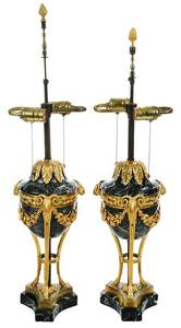 Pair Louis XVI Style Gilt-Bronze Mounted Lamps