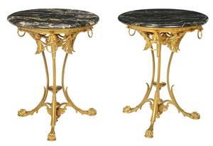 Fine Pair Empire Style Gilt Bronze Guéridons