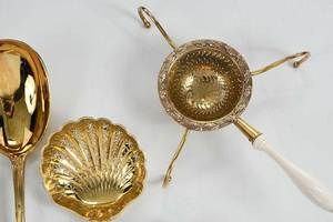 Cased Set of French Gilt Silver Flatware