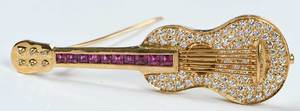 18kt. Diamond and Ruby Brooch