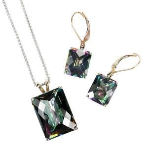 14kt. Gemstone Necklace & Earrings